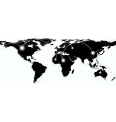 Map of world with trading paths and points vector image