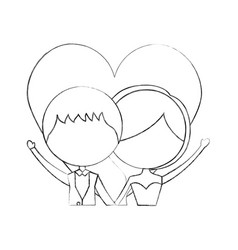 Married couple with heart avatars characters vector