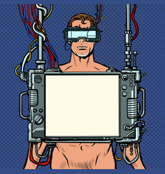 medical research cyberpunk naked man virtual vector image