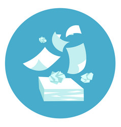 papers stack paperwork icon web button on round vector image