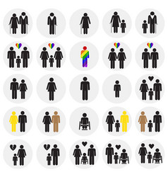 People gender race orientation age set on circles vector