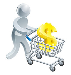 Person pushing trolley with dollar sign vector