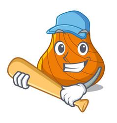 Playing baseball hard shell character cartoon vector