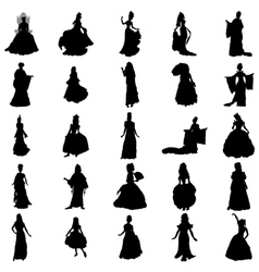 Princess silhouettes set vector image