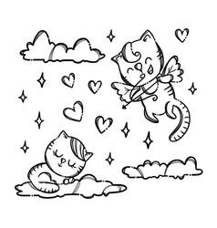 Pussicat on cloud valentine monochrome vector