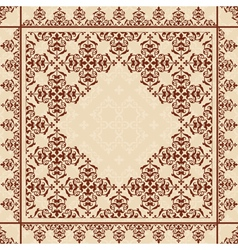 quadratic background with vintage ornament vector image