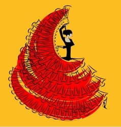 red-yellow image of flamenco vector image vector image
