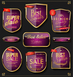 Retro golden labels and badges collection 5 vector