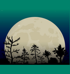 romantic white moon in the night sky dark forest vector image