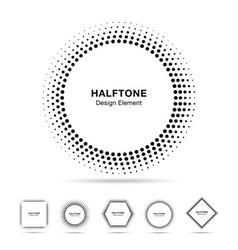 Set black abstract halftone shapes vector