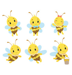 set cartoon bees a collection cute bees vector image