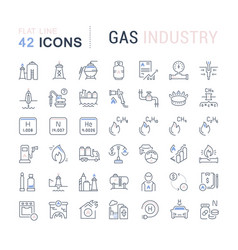 Set line icons gas industry vector