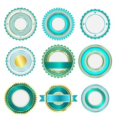 Set of badges labels and stickers in turquoise vector image