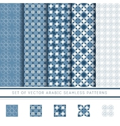 Set of blue arabic pattern vector
