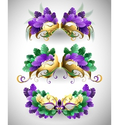 Set of Mardi Gras Masks vector