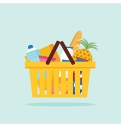 Shopping basket with foods flat vector