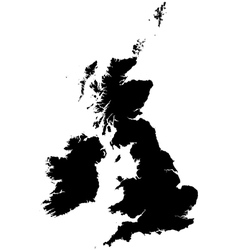 Silhouette map of the United Kingdom and Ireland vector