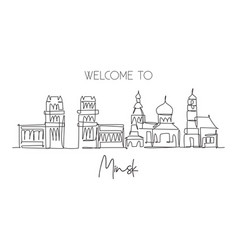 single continuous line drawing minsk city vector image