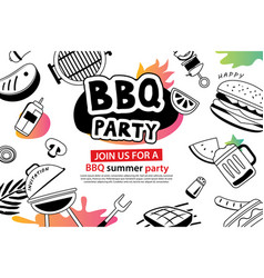 Summer bbq party in doodles symbol and objects vector