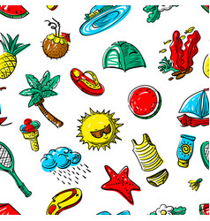 summer objects seamless pattern vector image