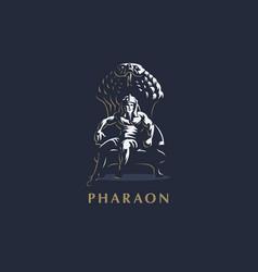 The egyptian king man pharaoh ankh vector