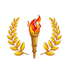 The torch with burning fire golden laurel branch vector