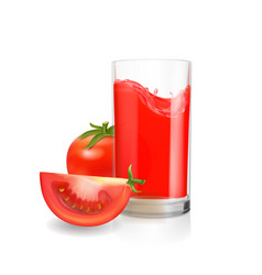 tomato juice in glass realistic vector image