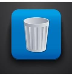 Trash symbol icon on blue vector image