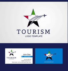 travel uae flag creative star logo and business vector image