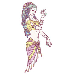 tribal dancer or indian dancer girl in hand drawn vector image