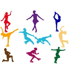 varicoloured figure skaters vector image