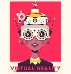 Virtual gaming experience retro poster template vector
