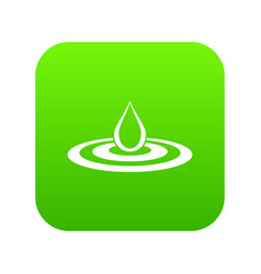 water drop and spill icon digital green vector image