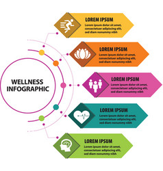 Wellness infographic with five sections vector