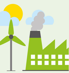 wind power turbine industry factory vector image