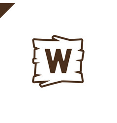wooden alphabet or font blocks with letter w in vector image