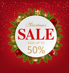 xmas sale banner with balls and fir tree vector image