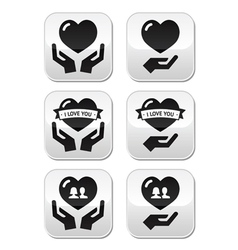 Hands with heart love relationship buttons set vector image