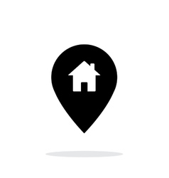 Map pin with home icon on white background vector image