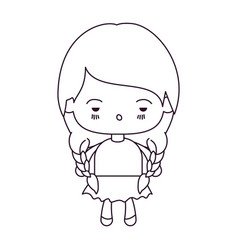 Monochrome silhouette of kawaii little girl with vector
