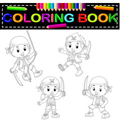 pirate coloring book vector image vector image
