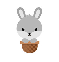 cute cartoon bunnysitting in easter basket funny vector image vector image
