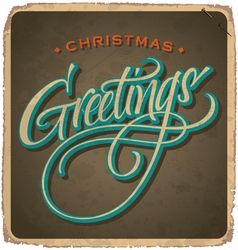 hand-lettered vintage christmas card vector image