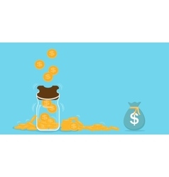 Piggy bank with falling gold coins - Contribution vector image