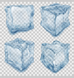 set of transparent light blue ice cube vector image vector image