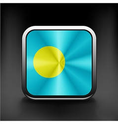 Square icon with flag of palau with reflection vector image