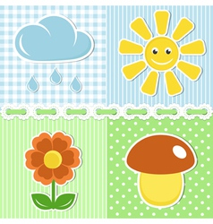 Summer icons on fabric backgrounds vector image