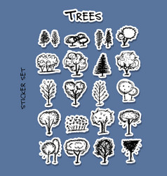 trees sticker set for your design vector image