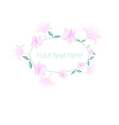 Watercolor floral oval frame pastel color vector image