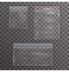 Big and little plastic bag icon set transparent vector